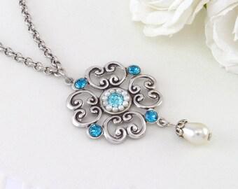Blue wedding jewelry, Blue wedding necklace, Blue wedding, Something blue wedding, Blue bridal jewelry, Bridal Jewelry