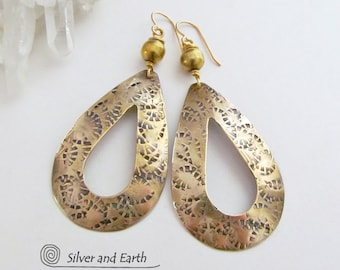 SALE: Brass Hoop Earrings Large Gold Hoops Big Long Dangle Gold Earrings Metalwork Earrings Artisan Handmade Modern Boho Jewelry on Sale
