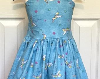 Tinkerbell  Peekaboo Tie Back  Dress (12-18 months, 2T, 3T, 4T, 5, 6)