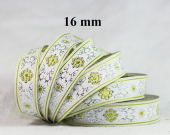 to order! 10 m Ribbon embroidered Jacquard * medieval * 16 mm wide