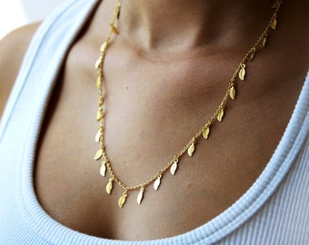 Gold Chain Necklace, Leaves Necklace, Delicate Necklace,  Thin Gold Necklace, Dainty Gold Necklace, Minimalist Necklace