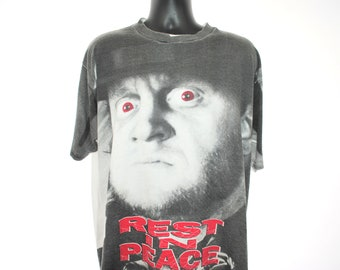 1993 The Undertaker Vintage World Wrestling Federation Era Rest In Peace 90's Sports Entertainment All Over Print Wrestler Promo T-Shirt