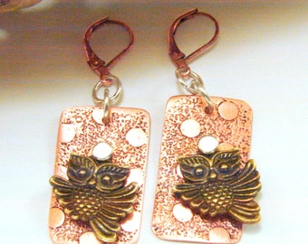 Mixed Metals Copper, Antique Brass, Silver Riveted Owl to Etched Copper Earrings, Owl Earrings