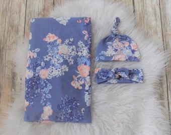Blue Floral Swaddle blanket/Floral/baby girl/Swaddle/Blue flower swaddle/Flower/Girl swaddle blanket/Girl baby blanket