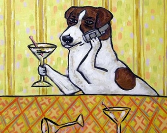 25% off Jack Russell Terrier at the Martini Bar Dog Art TIle Coaster Gift