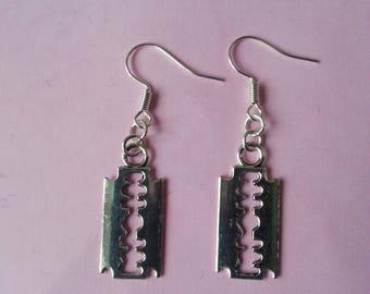 Earrings ♥ ♥ silver razor blade