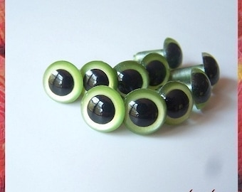 12 mm PEARL GREEN animal eyes plastic eyes safety eyes - 5 PAIRS