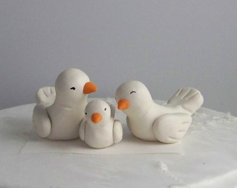 Bird Wedding Cake Topper with Baby Bird  -- Color(s) of Choice