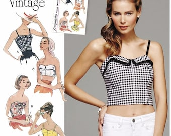 1950's Vintage Halter Tops Pattern, Strapless Tops Pattern, Cropped Top Pattern, Simplicity Sewing Pattern 8130