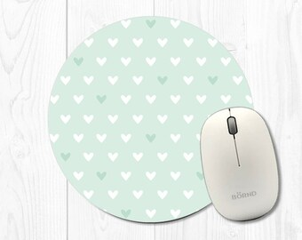 Computer Mouse pad Mousepad School Supplies Dorm Decor Office Decor Coworker Gift Heart Mouse Pads Mint Green Mousepad Hearts Mint Mouse Pad