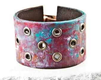 Leather Jewelry, Leather Cuff, Leather Bracelet, Leather Wristband Stocking Stuffers