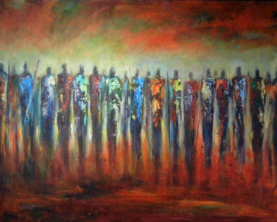 ABSTRACT art Masses of People Huge ORIGINAL painting Maasai Warrior 60x48 by BenWill
