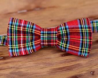 Boys Bow Tie - Handsome Red Plaid Preppy Bowtie - boy's bow tie infant baby toddler child preteen boy - boys scottish plaid bow tie - nerd