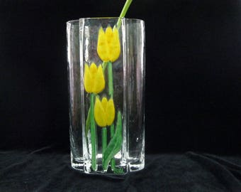 SEA Glass, Sweden Yellow Tulip Vase, Renata Stock Design, Hand Painted