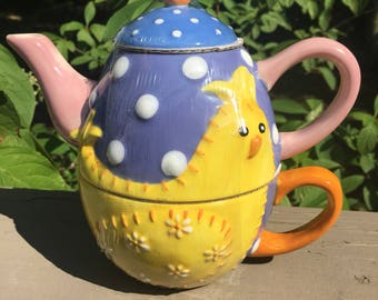 Vintage  Tea for One, Chicken Tea Pot