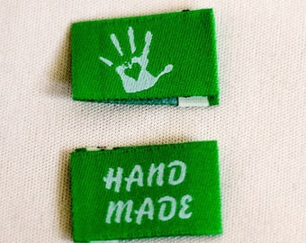 10 Selfmade handmade with Love labels Web label 14 colors selectable-knitting label, Fabric label, clothing label, Wovenlabe