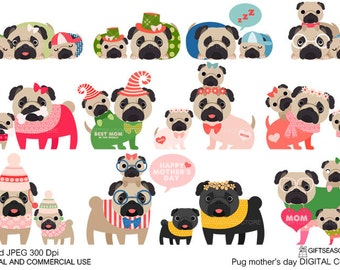 Mother's day pug Digital clip art for Personal and Commercial use - INSTANT DOWNLOAD