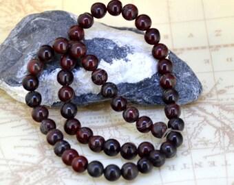 Loose  8mm Round Red Jasper gemstone  bead  one strand 16inch