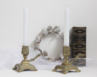 Set of 2 candlesticks.Antique bronze candlesticks.Candelabra.Bronze sconces.