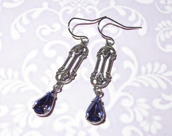 ART NOUVEAU Earrings - 'FIONA' - Antique Silver Plated made with Vintage Swarovski Rhinestones - Tanzanite Edition - Vintage Inspired