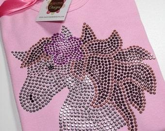 HORSE HEAD with flower short sleeve rhinestud tee by Daisy Creek Designs