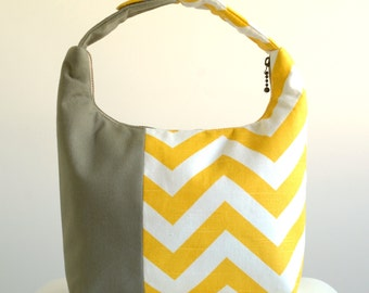 Women Lunch Bag, Insulated Lunch Bag, Chevron Small Purse, Work Lunch Bag, Reusable Lunch Tote, Yellow Chevron Taupe Color block