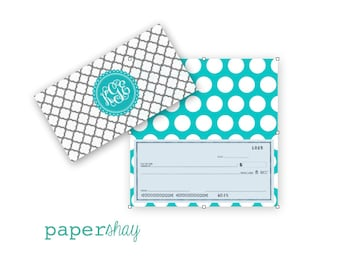 Checkbook Cover, GRAY TREFOIL, Monogrammed Checkbook Cover, Personalized Checkbook Cover, Custom Checkbook Cover, Vinyl Checkbook Cover