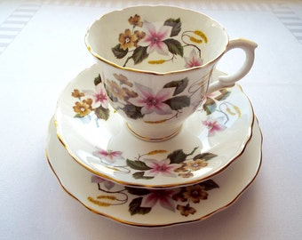 Vintage Tea Cup and Cake Plate, Staffordshire Crown China. 1950s Teacup and Saucer Trio With Clematis Pattern. Perfect For A Tea Party