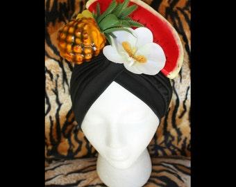 Carmen Miranda Tropical Fruit Turban Tiki Oasis VLV Pinup Burlesque Costume