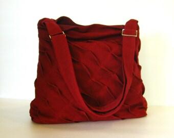 Sale - Deep Red Hemp/Cotton Messenger Bag, unique, diaper, tote, everyday bag, stylish, purse,  - Rebecca