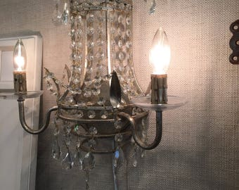 Pair of Crystal electric wall sconces