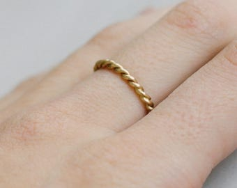 Yellow Rope Stackable Ring