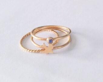 Gold Fill Sparrow and Moonstone Stacking Ring Set