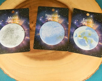 Space Post It Notes, Space Stationery, Moon, Neptune, Earth, Planet Sticky Notes, Space Theme