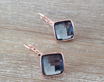 18k gold plated smoky gray crystal dangle charm earrings with rose finishing