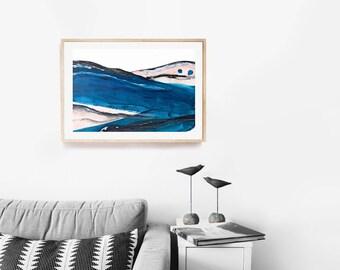 Abstract Landscape Painting- Modern Art - Blush Pink and Indigo Blue- Minimal Landscape Art - Minimal Abstract Painting -