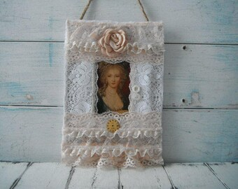 marie antoinette hang tag lace decor french country mixed media art tag lace collage door decor cottage chic victorian style art canvas art