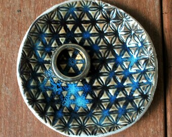 Ceramic Ring Holder Dish, Engagement  Ring Holder, Turquoise Ceramic Ring Holder, Ring Bearer, Trinket Dish, Wedding Favors ShellyClayspot