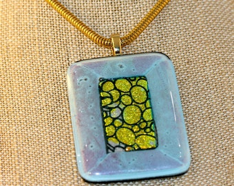 Dichroic Fused Glass. Statement Piece, Pendant Necklace. Fused Glass Pendant. Fused Glass Necklace. Pendant. Swarovski Crystal Earring Set.