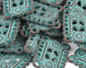 Greek Filigree Link, Connector, Multi Hole, Cast Metal Green Patina, M464
