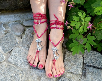 CAT Barefoot Sandals , Gypsy Dark Magenta cotton barefoot sandals with tibetan silver plated  metal CAT and Czech pearl glass beads