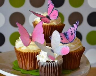 Wedding Cake Topper The Original EDIBLE BUTTERFLIES - Large Assorted Pink - Edible Wedding Favors