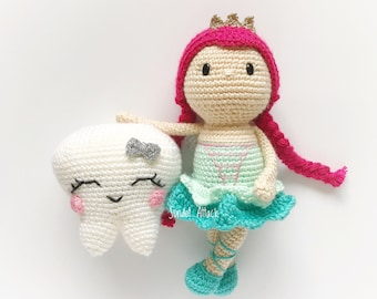 PATTERN: Faye the tooth fairy and Tootsie the tooth keeper, fairy amigurumi pattern, tooth fairy pattern, tooth fairy crohet pattern