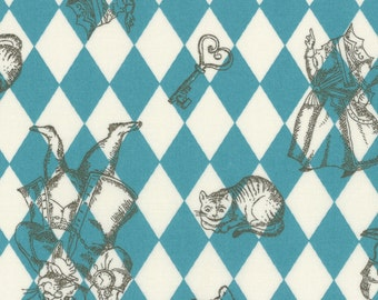 "New from Lecien, ""Girl's Story Alice Fall 2016"",  Alice in Blue Harlequin, yard"