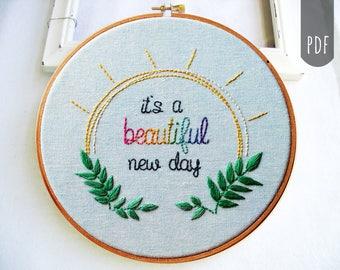 Hand Embroidery Pattern Beautiful Day Sun Botanical