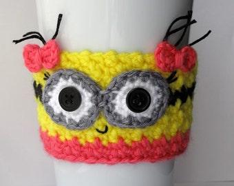 Minion Girl Crocheted Coffee Cup Cozy