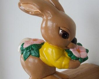 Vintage Chalk Ware Bunny Rabbit Garden Statue