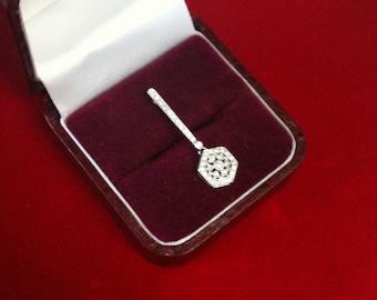 18 K White Gold Beautiful Slide Charm With Brilliant 37 Diamonds (.20 ct) 1.5 gm.