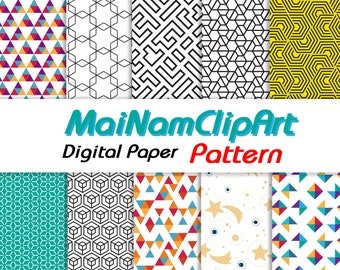 Pattern Digital Paper Pack Includes 10 for Scrapbooking Paper Crafts