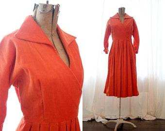 Vintage 1960s 1970s harvest burnt orange corduroy long sleeve wrap dress 60s 70s